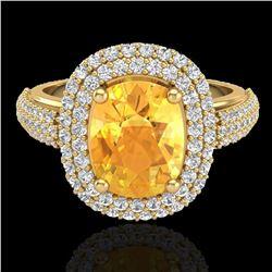 3.50 ctw Citrine & Micro Pave VS/SI Diamond Ring 14k Yellow Gold