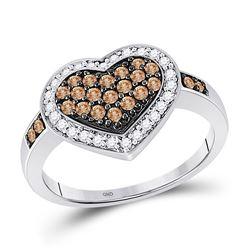 10kt White Gold Round Brown Diamond Framed Heart Cluster Ring 1/2 Cttw