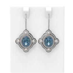 8.96 ctw Blue Topaz & Diamond Earrings 18K White Gold