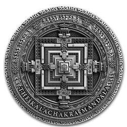 2019 Niue 2 oz Antique Silver Ancient Calendars: Kalachakra