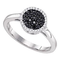 10k White Gold Black Color Enhanced Diamond Halo Cluster Ring 1/4 Cttw