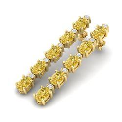 15.47 ctw Citrine & VS/SI Certified Diamond Tennis Earrings 10k Yellow Gold
