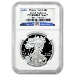 2010-W Proof Silver American Eagle PF-70 NGC (ER, 25th Anniv)