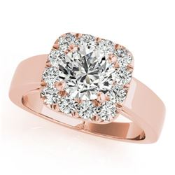 1.55 ctw Certified VS/SI Diamond Solitaire Halo Ring 14k Rose Gold
