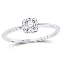10kt White Gold Round Diamond Solitaire Stackable Band Ring 1/5 Cttw