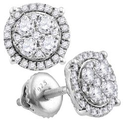 10kt White Gold Round Diamond Circle Cluster Earrings 1/2 Cttw