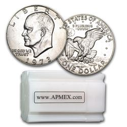 1973 Clad Eisenhower Dollar 20-Coin Roll BU