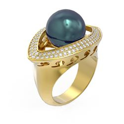 1 ctw Diamond & Pearl Ring 18K Yellow Gold