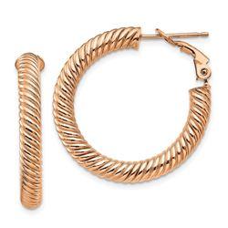 10k Rose Gold Twisted Round Omega Back Hoop Earrings - 4x20 mm