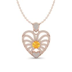 3 ctw Citrine With Micro Pave Diamond Heart Necklace 14k Rose Gold