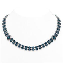 39.28 ctw London Topaz & Diamond Necklace 14K White Gold