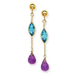 14k Amethyst and Blue Topaz Post Earrings