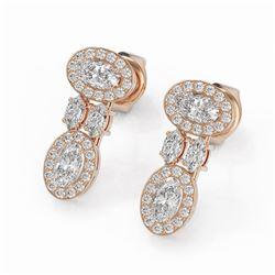 2 ctw Oval & Marquise Cut Diamond Earrings 18K Rose Gold