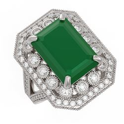 11.98 ctw Certified Emerald & Diamond Victorian Ring 14K White Gold