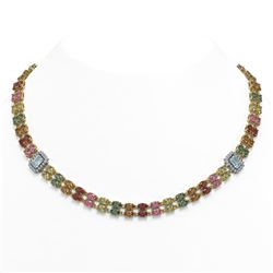 42.06 ctw Sapphire & Diamond Necklace 14K Yellow Gold
