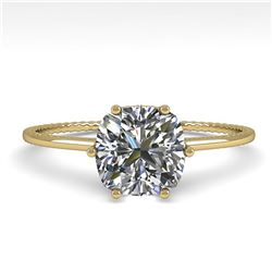 1.0 ctw VS/SI Cushion Diamond Art Deco Ring 14k Yellow Gold
