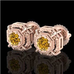 1.11 ctw Intense Fancy Yellow Diamond Art Deco Earrings 18k Rose Gold