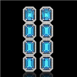 18.99 ctw Swiss Topaz & Diamond Micro Pave Halo Earrings 10k White Gold