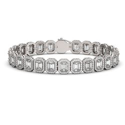 20.25 ctw Emerald Cut Diamond Micro Pave Bracelet 18K White Gold