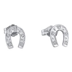 10kt White Gold Round Diamond Horseshoe Stud Earrings 1/20 Cttw
