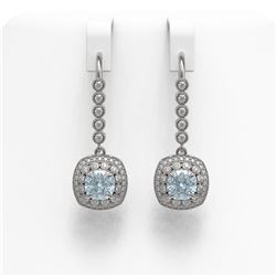 4.5 ctw Aquamarine & Diamond Victorian Earrings 14K White Gold