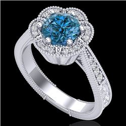 1.33 ctw Fancy Intense Blue Diamond Art Deco Ring 18k White Gold
