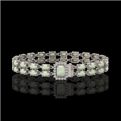 13.48 ctw Opal & Diamond Bracelet 14K White Gold