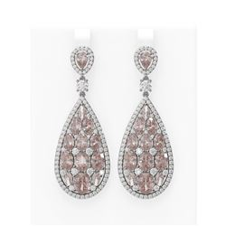 25.06 ctw Morganite & Diamond Earrings 18K White Gold