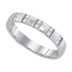 10kt White Gold Mens Round Diamond Machine-set Comfort 4mm Wedding Band Ring 1/6 Cttw