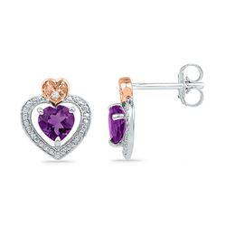 10kt White Gold Round Lab-Created Amethyst Heart Earrings .01 Cttw