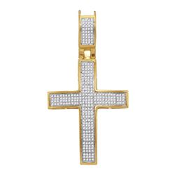 10kt Yellow Gold Mens Round Diamond Roman Cross Charm Pendant 1/2 Cttw