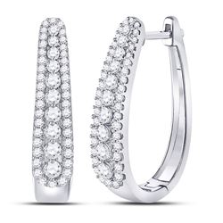 10kt White Gold Round Diamond Oblong Hoop Earrings 7/8 Cttw