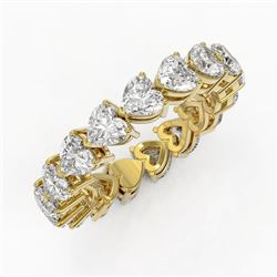 4.42 ctw Heart Diamond Designer Eternity Ring 18K Yellow Gold