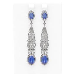 10.74 ctw Tanzanite & Diamond Earrings 18K White Gold