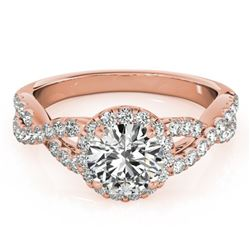 1.54 ctw Certified VS/SI Diamond Solitaire Halo Ring 14k Rose Gold