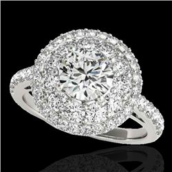 2.09 ctw Certified Diamond Solitaire Halo Ring 10k White Gold