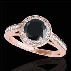 1.45 ctw Certified VS Black Diamond Solitaire Halo Ring 10k Rose Gold