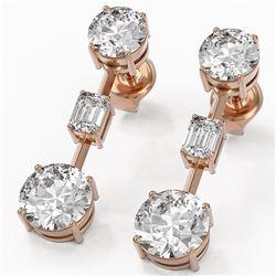 3.5 ctw Diamond Designer Earrings 18K Rose Gold