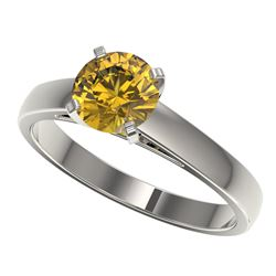 1.29 ctw Certified Intense Yellow Diamond Solitaire Ring 10k White Gold