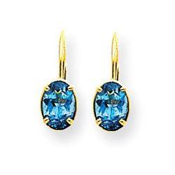 14k 7x5 mm Oval Blue Topaz Leverback Earrings