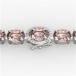 26 ctw Morganite & Diamond Eternity Micro Bracelet 14k White Gold
