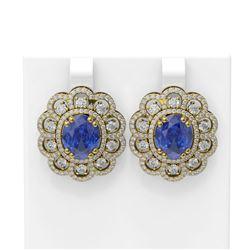 12.21 ctw Tanzanite & Diamond Earrings 18K Yellow Gold