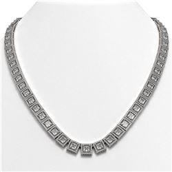 36.30 ctw Princess Cut Diamond Micro Pave Necklace 18K White Gold