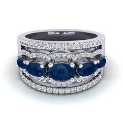 2.25 ctw Sapphire & Micro Pave VS/SI Diamond Designer Ring 10k White Gold
