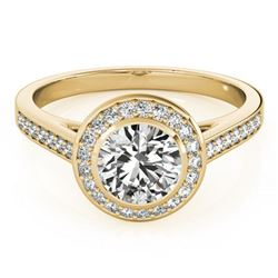 1.3 ctw Certified VS/SI Diamond Halo Ring 18k Yellow Gold