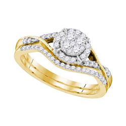 10kt Yellow Gold Round Diamond Bridal Wedding Engagement Ring Band Set 3/8 Cttw