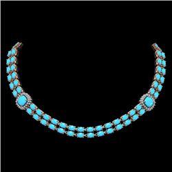 29.85 ctw Turquoise & Diamond Necklace 14K Rose Gold