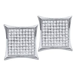 10kt White Gold Round Diamond Square Cluster Earrings 1/6 Cttw