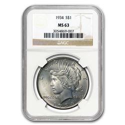 1934 Peace Dollar MS-63 NGC