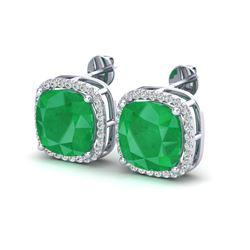 12 ctw Emerald & Micro Pave Halo VS/SI Diamond Earrings 18k White Gold